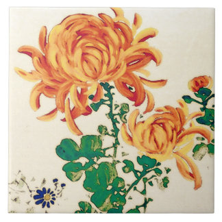 Vintage Japanese Painting of Chrysanthemums Ceramic Tile