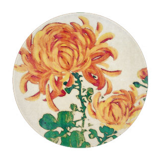 Vintage Japanese Painting of Chrysanthemums Cutting Board
