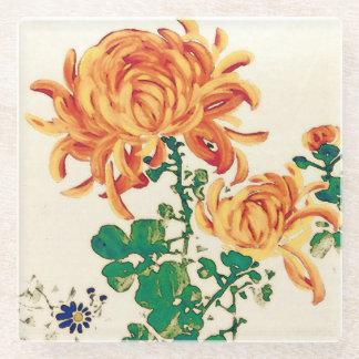 Vintage Japanese Painting of Chrysanthemums Glass Coaster
