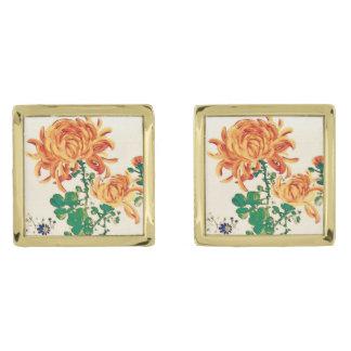 Vintage Japanese Painting of Chrysanthemums Gold Cufflinks