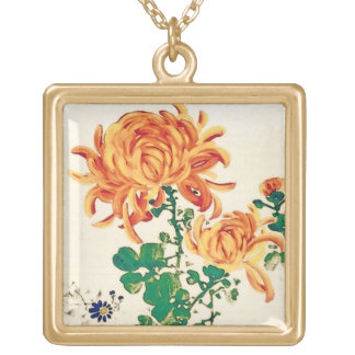 Vintage Japanese Painting of Chrysanthemums Gold Plated Necklace