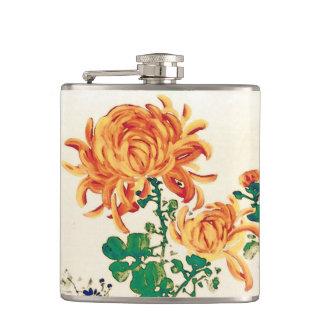 Vintage Japanese Painting of Chrysanthemums Hip Flask