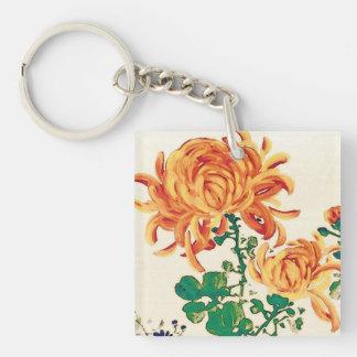 Vintage Japanese Painting of Chrysanthemums Keychain