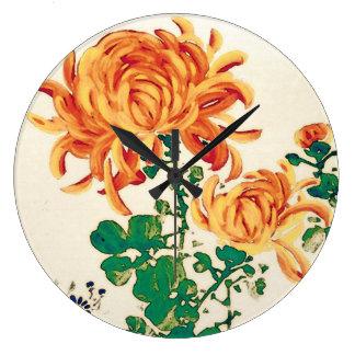 Vintage Japanese Painting of Chrysanthemums Large Clock