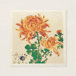 Vintage Japanese Painting of Chrysanthemums Napkin