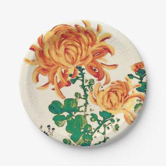 Vintage Japanese Painting of Chrysanthemums Paper Plate