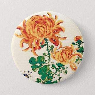 Vintage Japanese Painting of Chrysanthemums Pinback Button