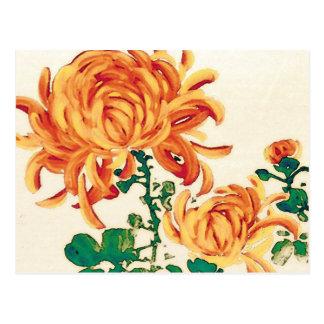Vintage Japanese Painting of Chrysanthemums Postcard