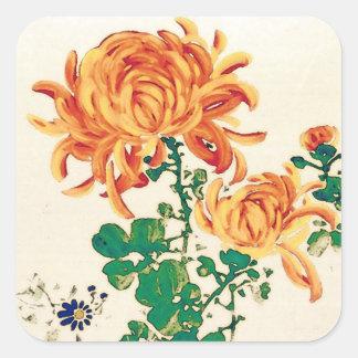Vintage Japanese Painting of Chrysanthemums Sticker