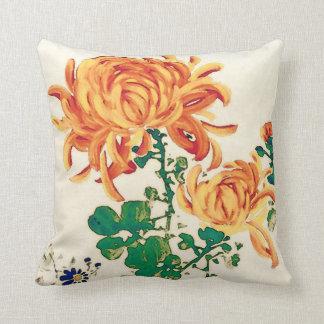 Vintage Japanese Painting of Chrysanthemums Throw Pillow