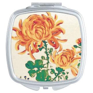 Vintage Japanese Painting of Chrysanthemums Vanity Mirror