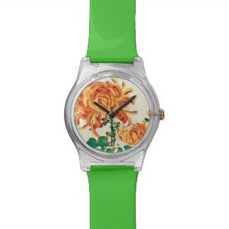 Vintage Japanese Painting of Chrysanthemums Watch