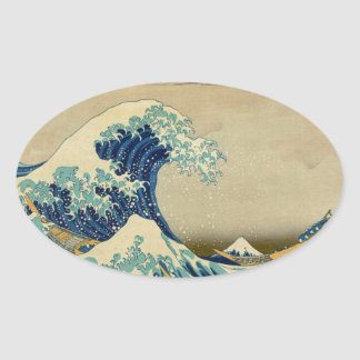 Vintage Japanese Painting Of Great Wave Oval Stickers