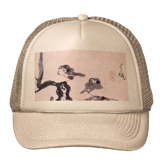 Vintage Japanese Painting of Two Birds on Snow Trucker Hat