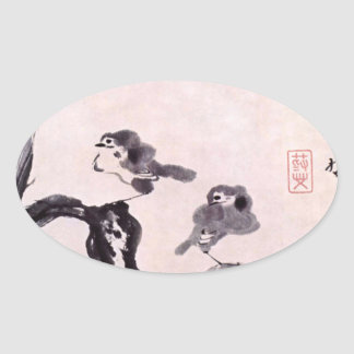 Vintage Japanese Painting of Two Birds on Snow Oval Sticker
