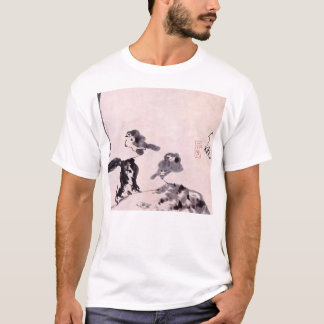 Vintage Japanese Painting of Two Birds on Snow T-Shirt