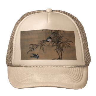 Vintage Japanese Painting Of Two Birds On Trees Trucker Hat