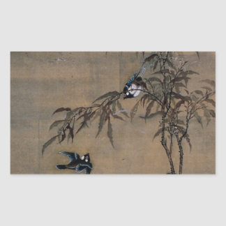 Vintage Japanese Painting Of Two Birds On Trees Rectangular Sticker