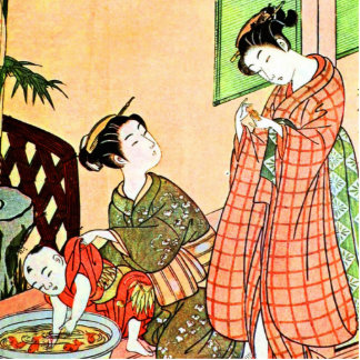 Vintage Japanese Painting of Two Woman Talking Cutout