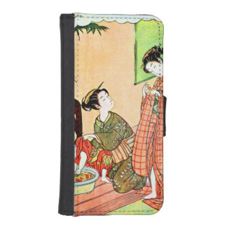 Vintage Japanese Painting of Two Woman Talking Wallet Phone Case For iPhone SE/5/5s