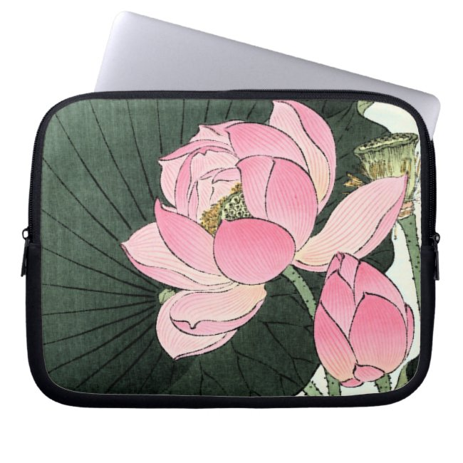 Vintage Japanese Pink Lotus Flower Laptop Sleeve