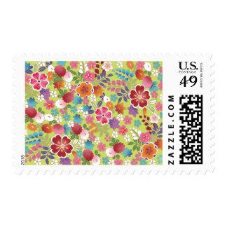 Vintage Japanese Plum Blossom Floral Fine Art Postage Stamp