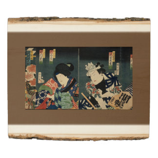 Vintage Japanese Print on a Wooden Photo Panel