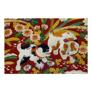 Vintage Japanese Puppy and Flower Poster