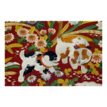 Vintage Japanese Puppy and Flower Print