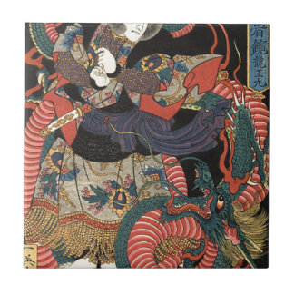 Vintage Japanese Red Dragon Ceramic Tile
