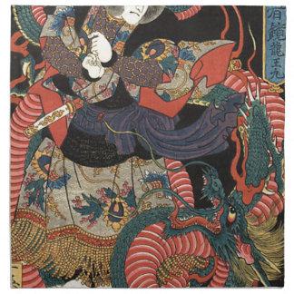 Vintage Japanese Red Dragon Cloth Napkin