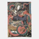 Vintage Japanese Red Dragon Hand Towel