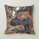 Vintage Japanese Red Dragon Pillow