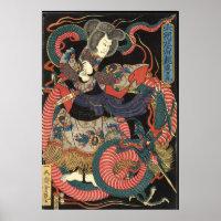 Vintage Japanese Red Dragon Poster