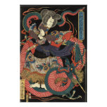 Vintage Japanese Red Dragon Print