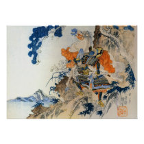 Vintage Japanese Samurai Carrying His Horse Poster