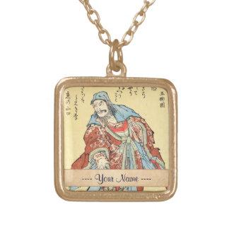 Vintage japanese samurai sketch tattoo Hokusai art Gold Plated Necklace