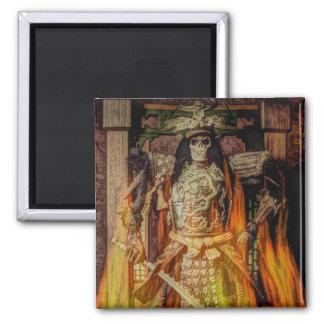 Vintage Japanese samurai Warrior skeleton flames 2 Inch Square Magnet