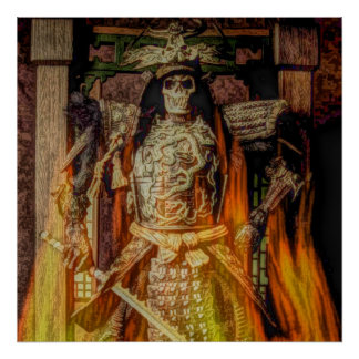 Vintage Japanese samurai Warrior skeleton flames Poster