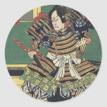 Vintage Japanese samurai Warrior Classic Round Sticker