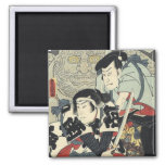 Vintage Japanese samurai warriors 2 Inch Square Magnet