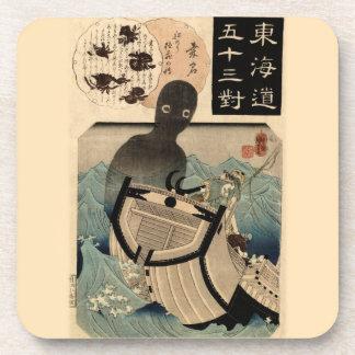 Vintage Japanese Sea Monster 海坊主, 国芳 Beverage Coaster