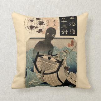 Vintage Japanese Sea Monster 海坊主, 国芳 Throw Pillow