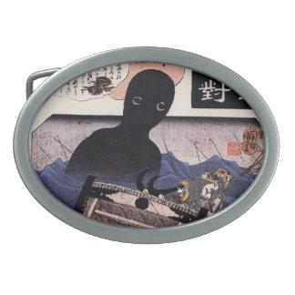 Vintage Japanese Sea Monster - Kuniyoshi Oval Belt Buckles