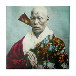 Vintage Japanese Shinto Priest Praying Old Japan Ceramic Tile