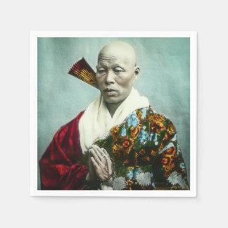 Vintage Japanese Shinto Priest Praying Old Japan Paper Napkin