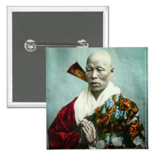 Vintage Japanese Shinto Priest Praying Old Japan Pinback Button