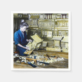 Vintage Japanese Shrine Maker Craftsman Old Japan Paper Napkin