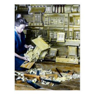 Vintage Japanese Shrine Maker Craftsman Old Japan Postcard