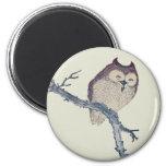 Vintage Japanese Sleeping Owl 2 Inch Round Magnet